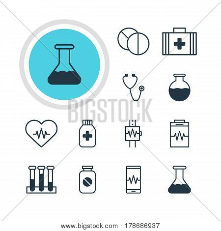 Vector Illustration Of 12 Medical Icons. Editable Pack Of Heartbeat, Vial, Round Tablet And Other Elements.