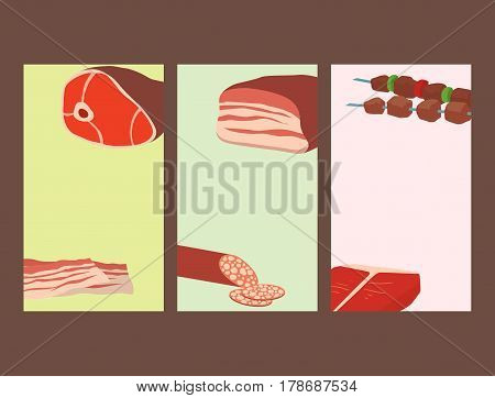 Meat products set of cartoon cards delicious barbecue kebab variety delicious gourmet meal and animal assortment slice lamb cooked vector illustration. Smoked grocery ham salami food.