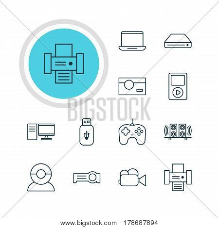 Vector Illustration Of 12 Gadget Icons. Editable Pack Of Joypad, Usb Card, PC And Other Elements.