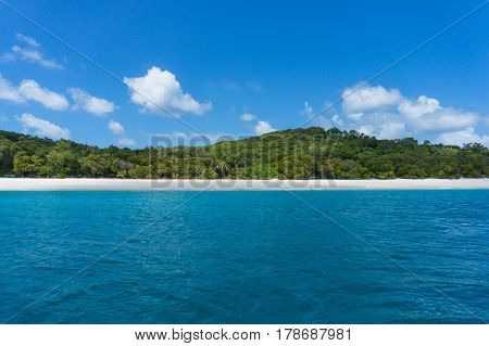 Beautiful Landscape Of Tropical Island With White Sand, Turquoise Water
