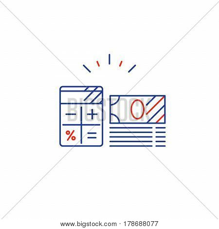 Savings account, financial audition, finance management, budget planning concept, project money, bank note bills stack, estimate investment risks, business analytics, loan calculation, vector mono line icon