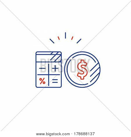 Savings account, financial audition, finance management, budget planning concept, project money, estimate investment risks, business analytics, loan calculation, vector mono line icon