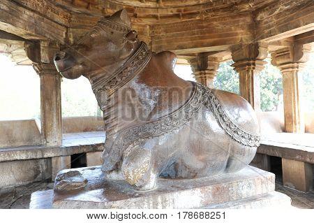 Khajuraho, India - 30 January 2015: Nandi sculpture at the Khajuraho temples on India