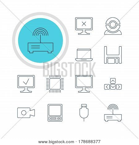 Vector Illustration Of 12 Computer Icons. Editable Pack Of Keypad, Screen, Microprocessor And Other Elements.