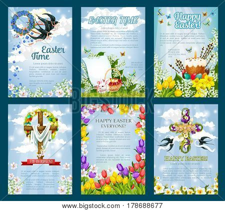 Easter poster template set. Egg Hunt invitation flyer of Easter egg with rabbit bunny, spring flower cross and wreath with ribbon, Easter cake, basket, crucifix and swallow bird on blue sky background