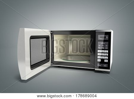 Microwave Stove Open On Grey 3D Illustration