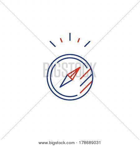 Orienteering compass, guidance concept, project management, vector mono line icon