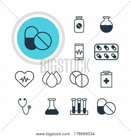 Vector Illustration Of 12 Medicine Icons. Editable Pack Of Experiment Flask, Phone Monitor, Trickle And Other Elements.