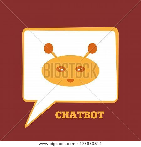 Rectangular speech bubble with the robot's head. Color icon smiling chatbot. Vector illustration. Yellow red.