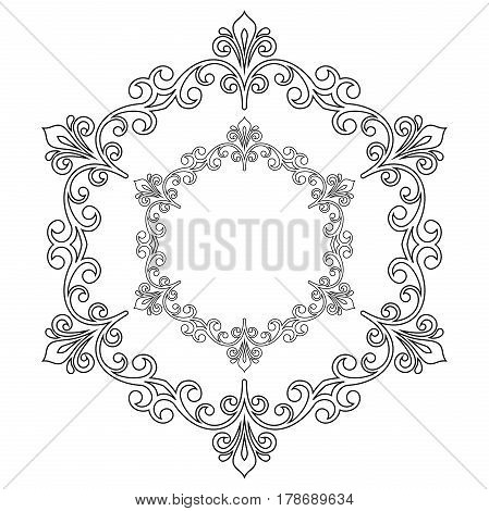 Oriental vector pattern with arabesques and floral elements. Traditional classic black and white round ornament. Vintage pattern with arabesques