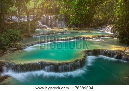 Kuang Si Waterfalls, Luang Phrabang at Laos.