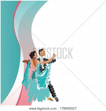 Couple dancing waltz. Stylized watercolor. Vector graphics