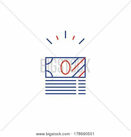 Financial investment, money bank note bills stack, product bundle special offer, income growth, savings account, reward concept vector line icon
