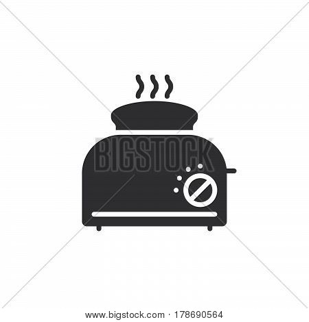 Toaster with toast icon vector solid flat sign pictogram isolated on white logo illustration