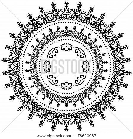 Oriental vector round pattern with arabesques and floral elements. Traditional classic black and white ornament. Vintage pattern with arabesques