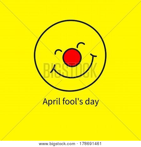 Symbol of charity red nose day. Icon april fool. Funny cute round smiling smiley clown  face, emoji, emoticon isolated on yellow background. Logo of company organizing holidays.