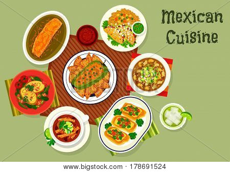 Mexican cuisine beef tacos icon served with guacamole and rice, stuffed pepper with meat and cheese, baked burrito, chicken soup with tortilla, potato with bacon, pork bean soup, toast with bean pate