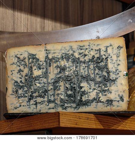 Gorgonzola Cheese and Big Bent Knife, Food Theme