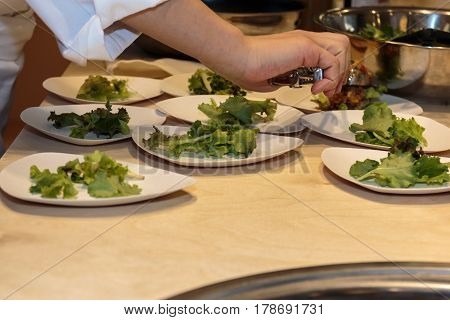 Cooking Inside Restaurant's Kitchen: Chef Preparing Dishes With Salad And Meat