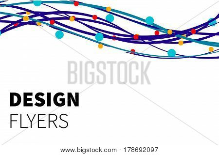 Template white business cards, flyers, leaflets, banner. Abstract background with curves and circles. Vector illustration.