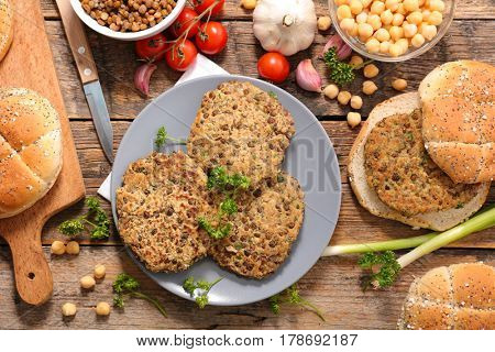 vegan burger with chickpea and lentils
