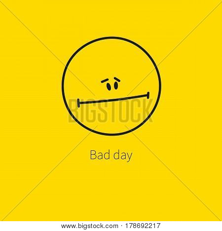 Sad unhappy sorry line hand drawn smiley isolated on a yellow background. Web icon a bad day. Card Emoji, emoticon. Vector illustration.