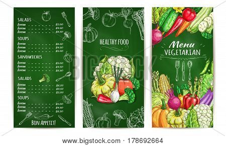 Vegetarian restaurant menu template chalkboard. List of vegetable salad, soup and snacks with prices and carrot, tomato, pepper, cabbage, broccoli, onion, eggplant, corn, zucchini, pea chalk sketches
