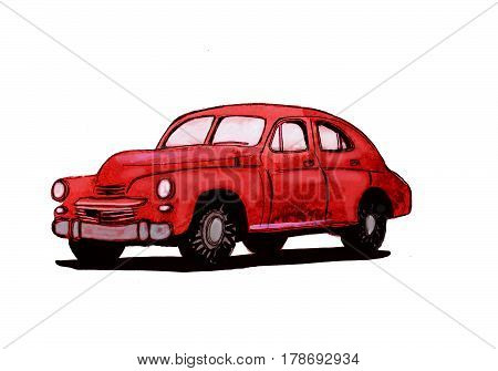 Red retro car 1950s hand drawn watercolor illustration