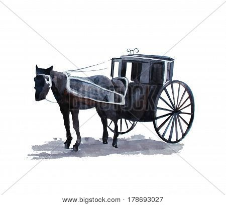 Hand drawn vintage hors cab, watercolor illustration, 1890s