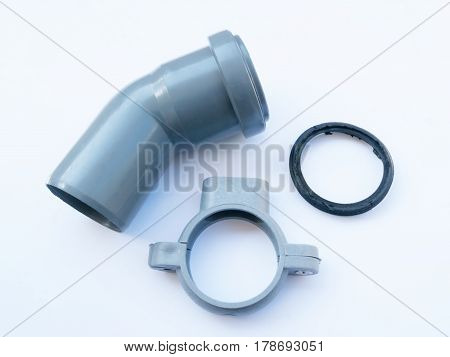 Plastic parts and rubber gasket for pipes