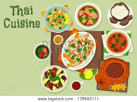 Thai cuisine icon with coconut rice, shrimp mushroom soup, fish ball curry, meat vegetable salad, rice noodle with chicken and sauce, chicken noodle with tofu, cream dessert baked in pumpkin