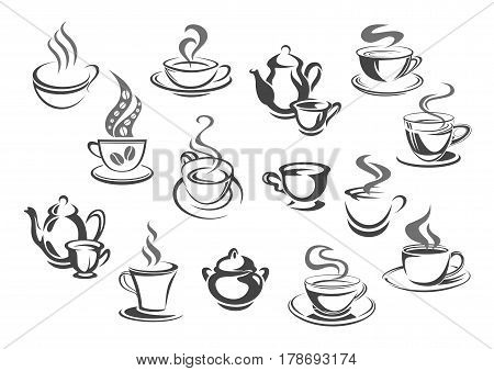 Cup of coffee and tea isolated icon set. Cup and mug of hot drinks with teapot, sugar bowl and saucer. Retro dinnerware for tea party, cafe or restaurant menu, coffee or tea packaging label design