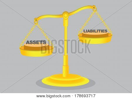 Balancing asset and liabilities on golden weighing scales isolated on grey background. Cartoon vector illustration on financial management concept.