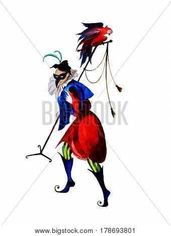 Medieval court fool, Joker, Harlequin, buffoon, watercolor hand made illustration