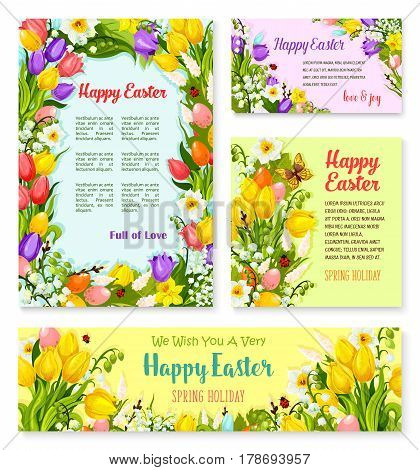 Happy Easter greeting banner template set. Easter egg and blooming spring flower of tulip, lily and narcissus, willow twigs and leaf with text layouts for Easter greeting card, poster, flyer design