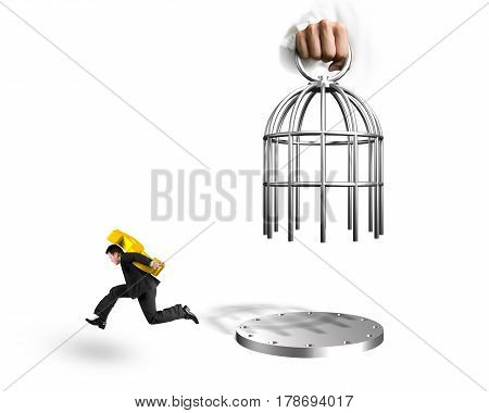 Hand Opening Cage And Man Carrying Euro Symbol Running