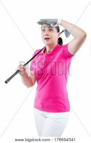 Surprised Woman Golfer Looking Where The Ball Flew Away On A White Background