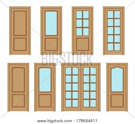 Collection office brown doors, Set Technical Drawing. Classic interior doors isolated. icon vector  doors.