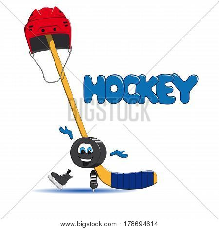Hockey puck is ice skating and in the background a hockey red helmet and an ice hockey hat are put on the stick