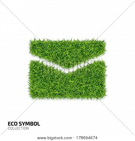 Envelope icon from green grass. Eco mail icon isolated on white background. Symbol with the green lawn texture. Ecology symbol collection. Vector illustration