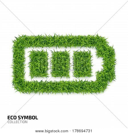 Battery icon from green grass. Eco charging icon isolated on white background. Symbol with the green lawn texture. Ecology symbol collection. Vector illustration