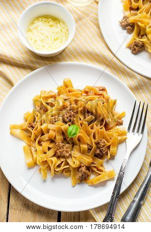 Noodles pasta with ground meat beef and tomato