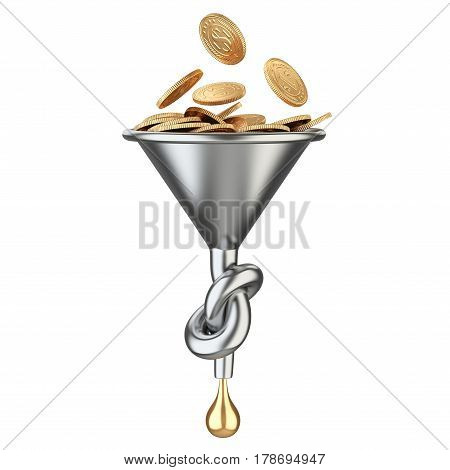 Funnel knoted with golden coins and drop. 3D illustration isolated on a white nackground.