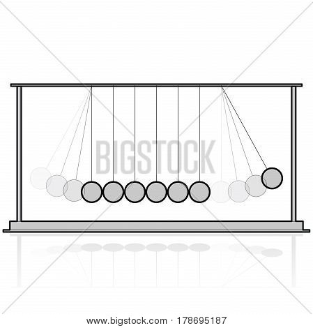 Vector Newton swing. Outlined pendulum cradle metal bolls. Wire flatten master illustration.