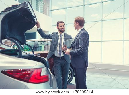Young business people with a car