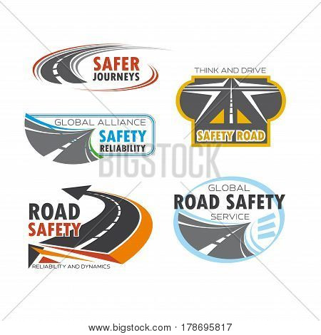 Road and traffic safety symbol set. Asphalt highway, road, freeway, roadway and crossroad isolated emblem for road safety service, car travel and transportation company design