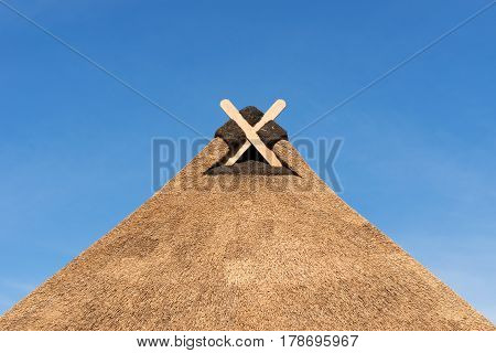 Thatched Roof With Modern Gable Decoration In Lower Saxony