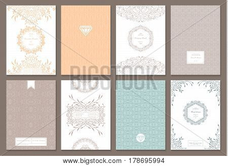 Retro creative card template with flourishes ornament elements and wreaths. Background for invitation, announcement, brochure, wedding.
