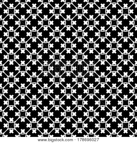 Vector monochrome texture. Simple black & white geometric background. Illustration of rounded lattice with crosses. Abstract dark ornamental seamless pattern. Repeat tiles. Design for decor, fabric, textile