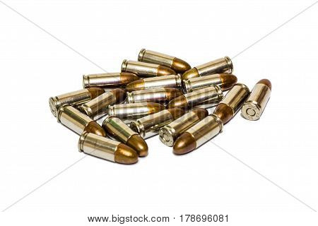 9mm pistol bullet isolated on white background